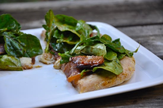 Fig, Prosciutto, Gorgonzola Pizza Topped With Balsamic Argula Salad