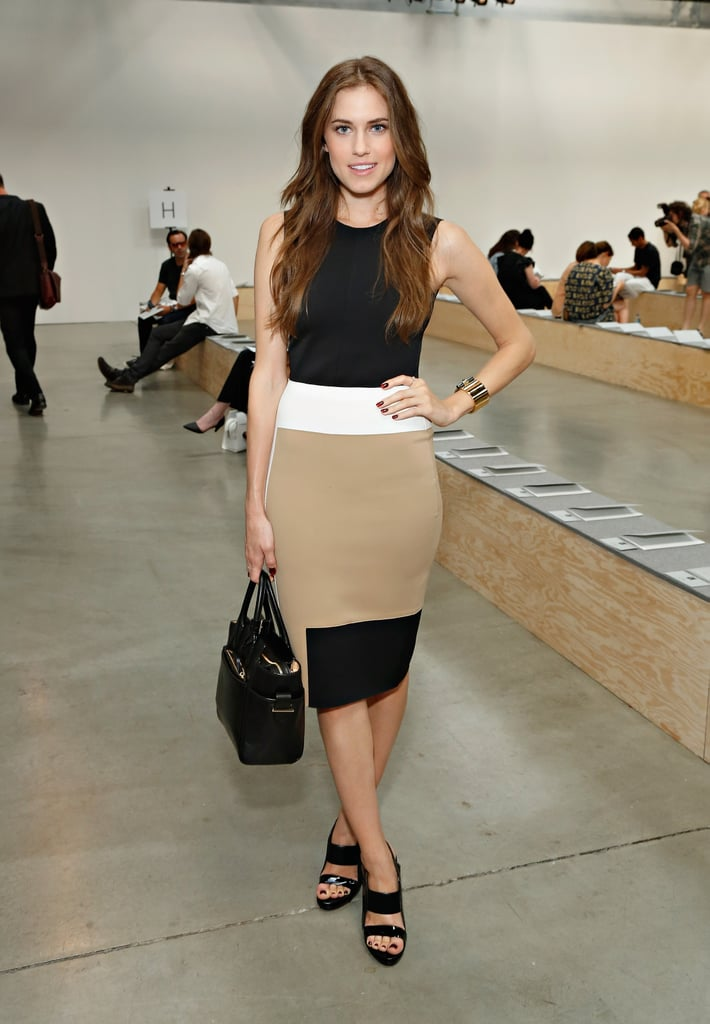 Allison attended the Reed Krakoff runway show in a geometric design that she completed with go-to wardrobe staples.