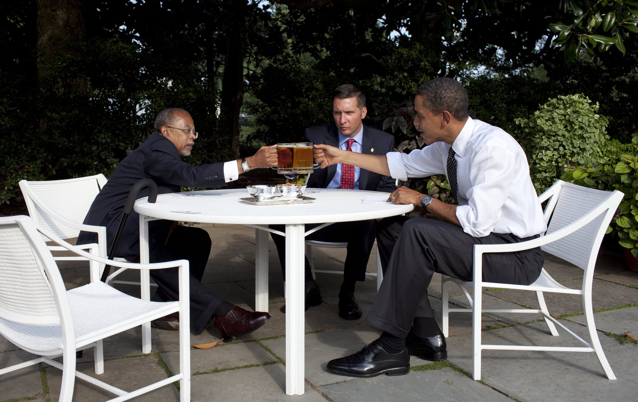 "Harvard University professor Henry Louis Gates, Cambridge Police Sgt. James Crowley, and President Barack Obama drank beer in the Rose Garden at the White House during the infamous 2009 ""beer summit."""