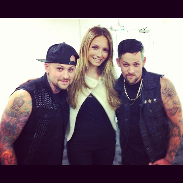 Ricki-Lee Coulter caught up with Benji and Joel Madden backstage the AFL Footy Show. Source: Instagram user therickilee