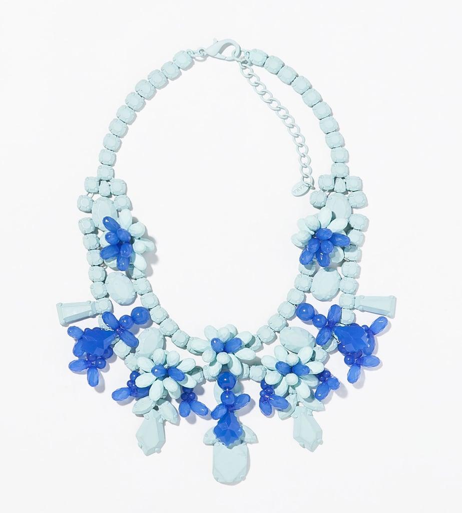 Zara blue painted rhinestone floral bib necklace ($36)