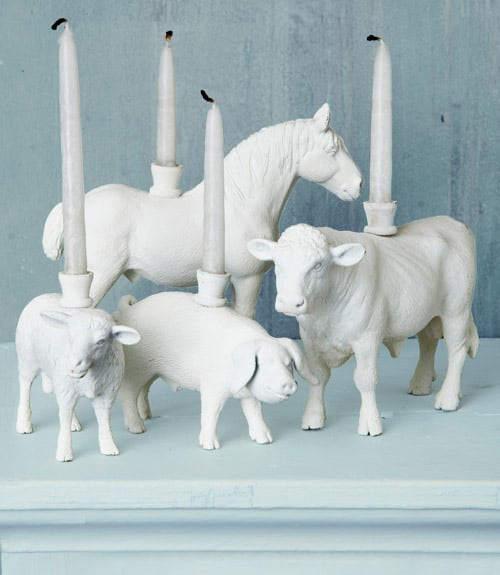 Add whimsy to your table with these animal candleholders. Source: Country Living Magazine