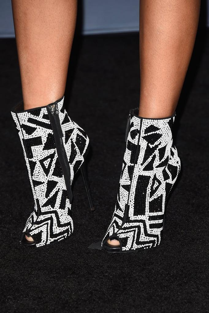 Nicki Minaj's black-and-white, geometric peep-toe booties were like a work of art.