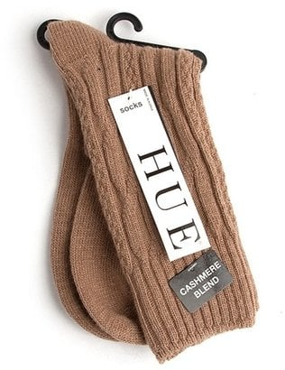 Hit the camel trend with these Hue Cashmere Blend Cable Socks ($12). They would match perfectly with a leather skirt or shorts.