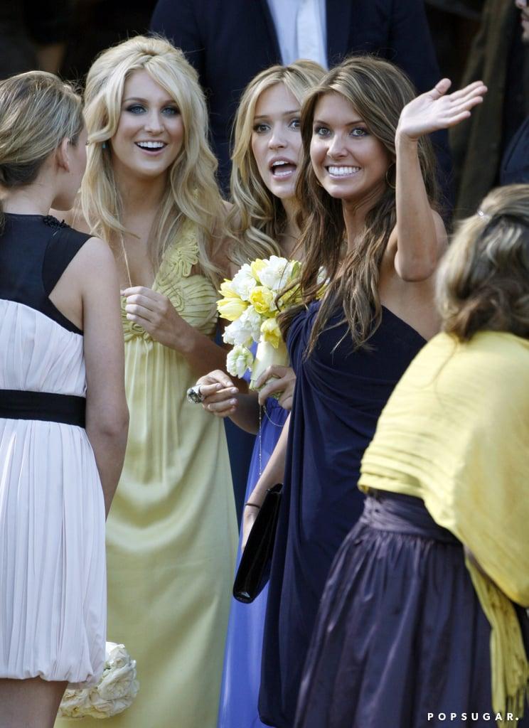 Stephanie Pratt, Kristin Cavallari, and Audrina Patridge smiled at Heidi Montag and Spencer Pratt's LA nuptials in April 2007.