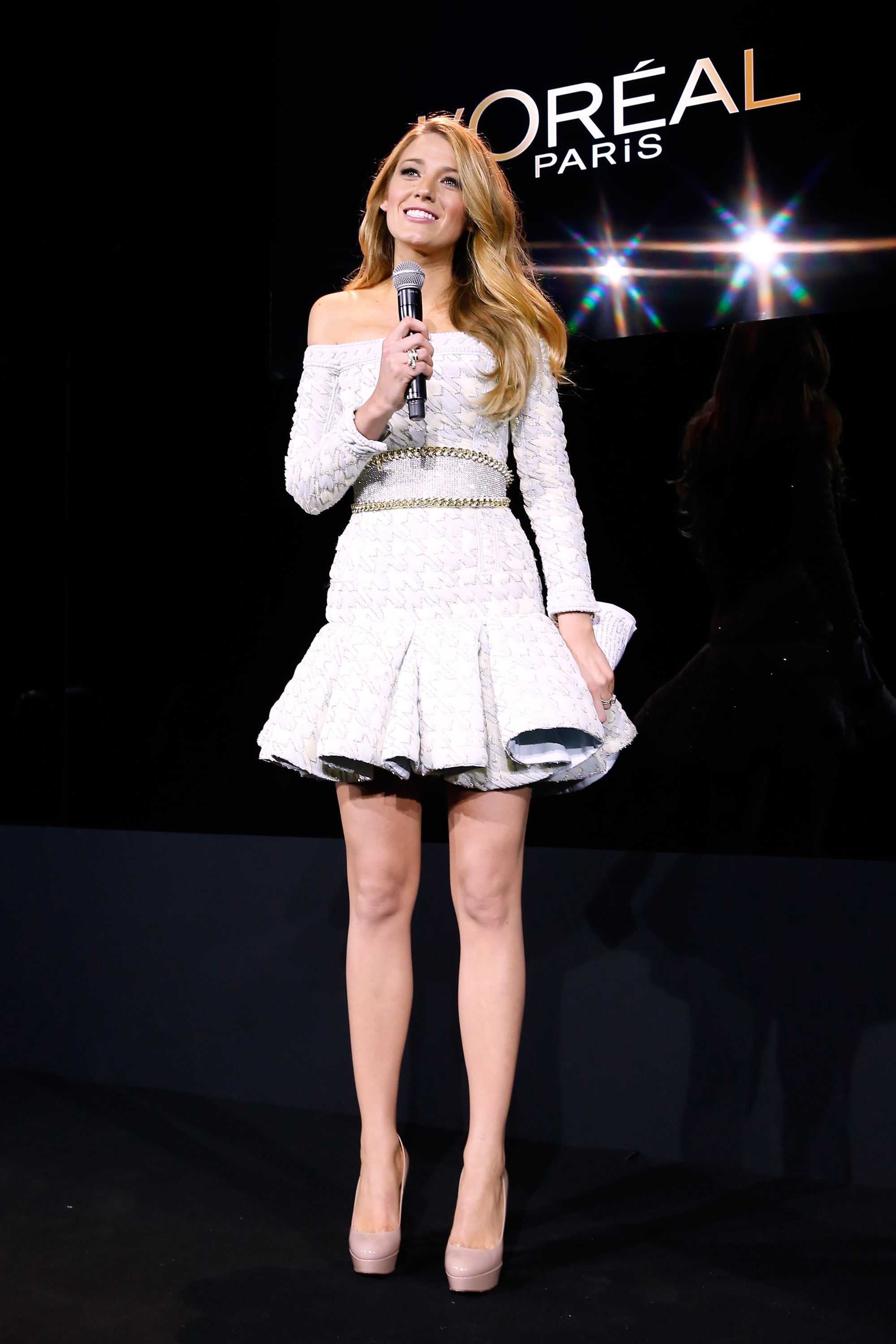 Blake Lively spoke on stage while being announced as the new face of L'Oréal in Paris on Tuesday.