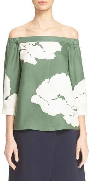 Tibi Amara Floral Print Off-the-Shoulder Top ($365)