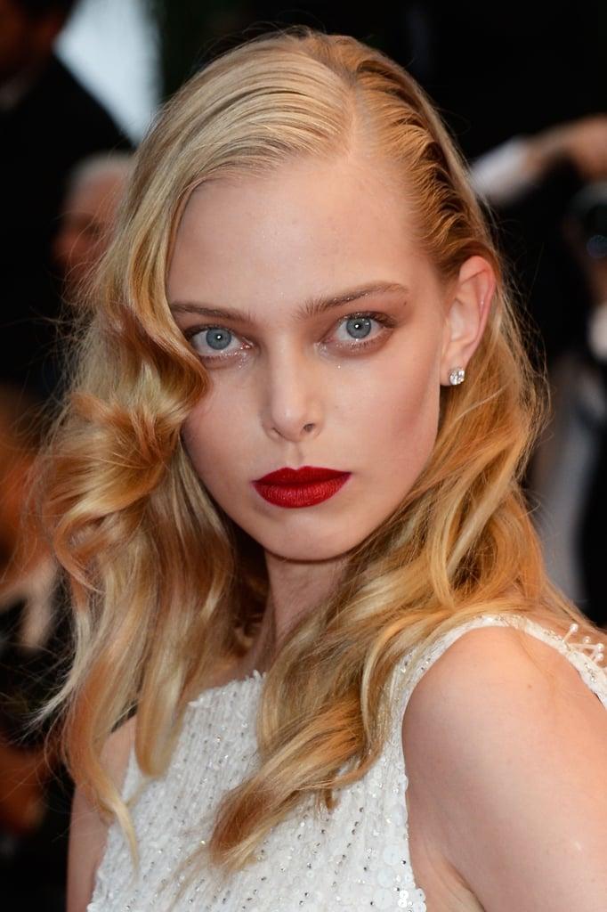 Russian model Tanya Dziahileva looked beautiful with wet-look hair.