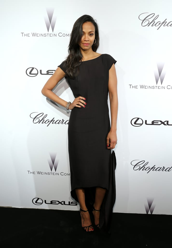 At the Weinstein party at Cannes, Zoe Saldana wore Lanvin, proving that a simple black dress can definitely stand out if it features a cool detail such as a high-low hemline.