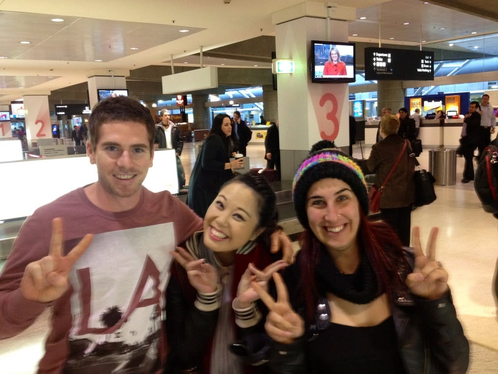 Melbourne crew Beau, TK and Tregan landed back in Sydney for the grand finale. Source: Twitter user treganborg