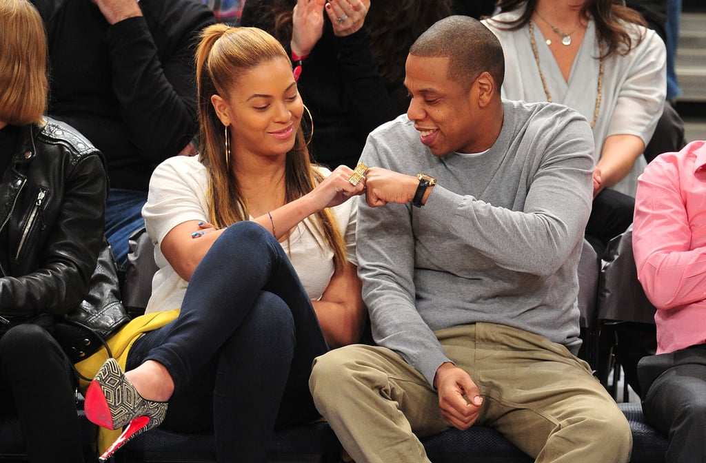 Jay-Z and Beyoncé stepped out for the first time as parents for a Nets vs. Knicks game at Madison Square Garden in February 2012.