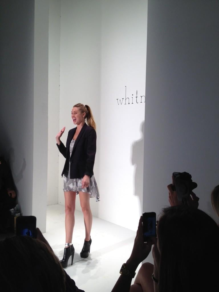 Whitney Port waved to the crowd after her Spring '13 show. Source: Twitter user whitneyEVEport