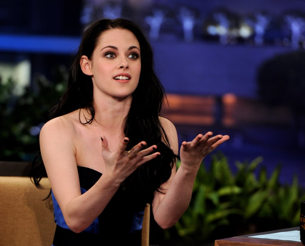 Kristen Stewart was animated telling a story on a late-night talk show.