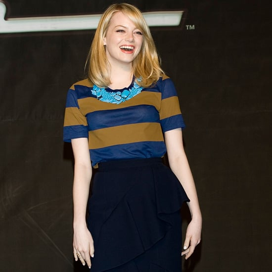 Emma Stone Stripe Navy and Olive Top