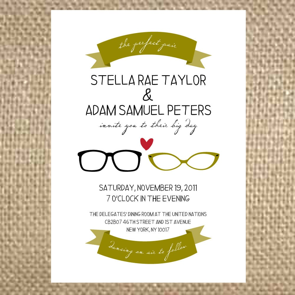 Customize colors to make the perfect pair of glasses invitations ($4 each) suit your bespectacled style.