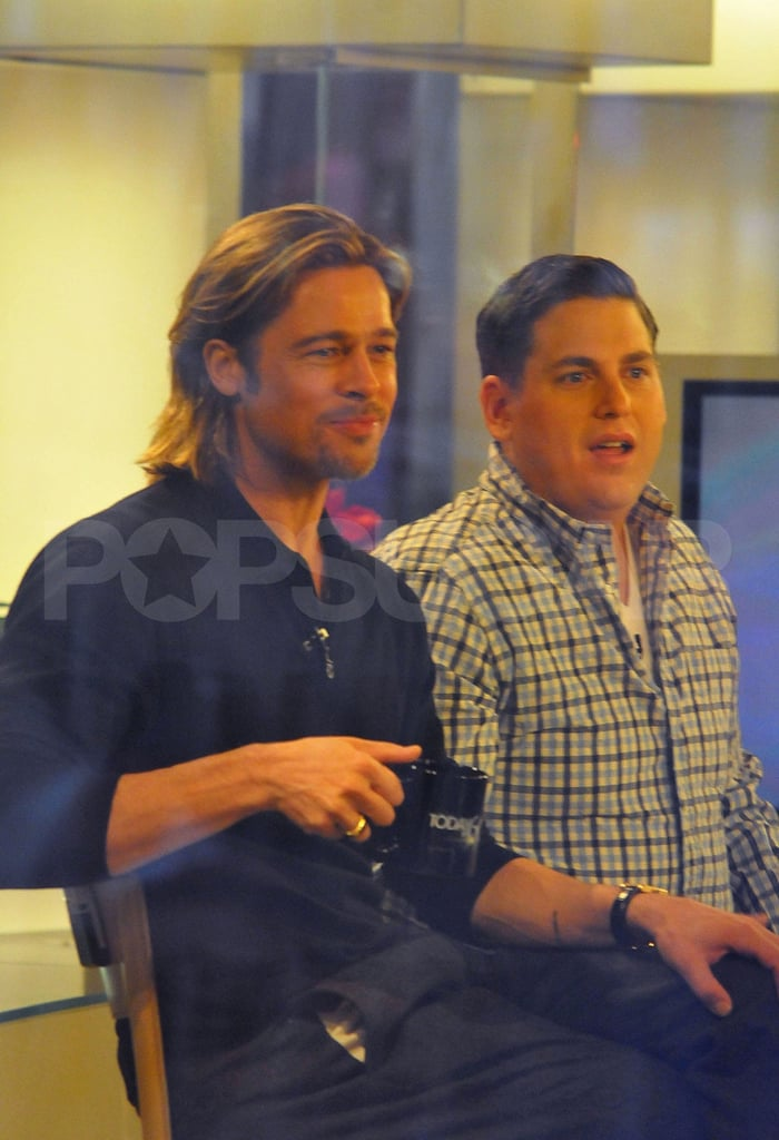 Brad Pitt and Jonah Hill talked about the pranks they pulled on the Moneyball set on a Today Show appearance.