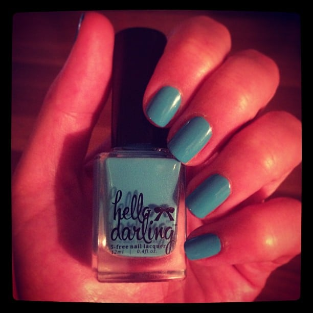 Alison's next polish job involved a bold blue by Hello Darling — the colour is called L'ete. That's French for 'the summer'. Perf.