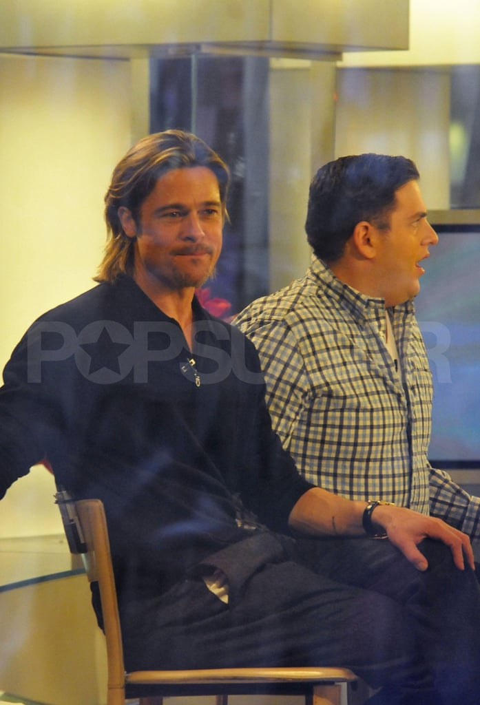 Brad Pitt and Jonah Hill got comfortable for their guest appearance on The Today Show.