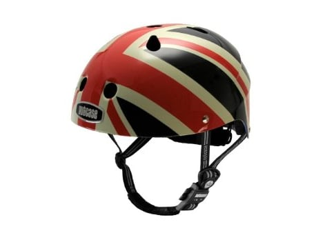 The royal baby can protect his noggin with Nutcase's Little Nutty Union Jack Bike Helmet ($60).