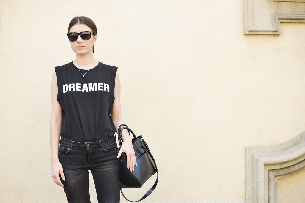 A statement tee did all the talking with this black-on-black look.