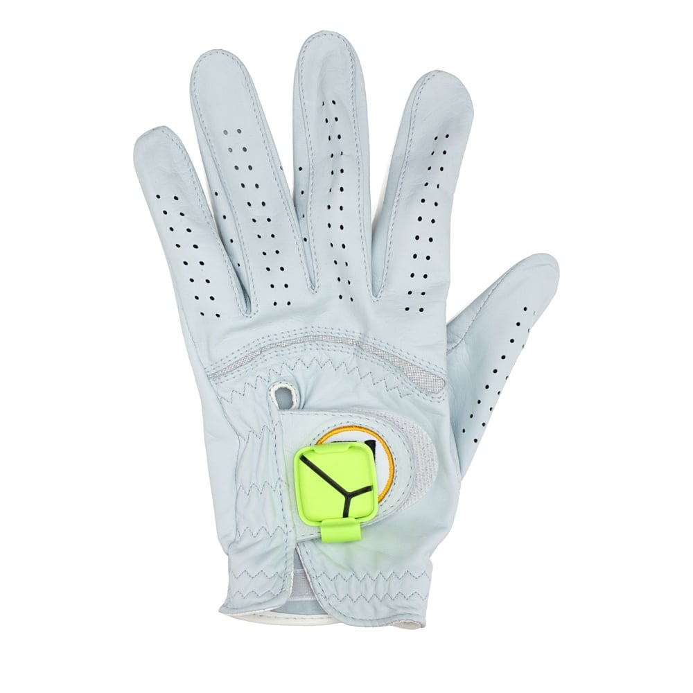 A golf sensor motion device ($130, originally $150) attaches to a golf glove and lets him see his swing in 3D from iPhone, iPad, or iPod touch. It also works with an app that measures club head speed, hand path, tempo, and other stats.