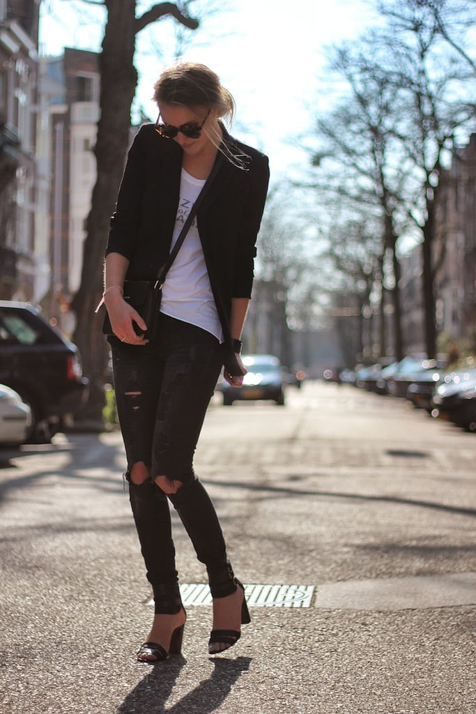 Right on point with a pair of distressed denim, a sleek blazer, and ankle-strap sandals. It's that effortless mix of high and low that made this look enviable. Source: Lookbook.nu