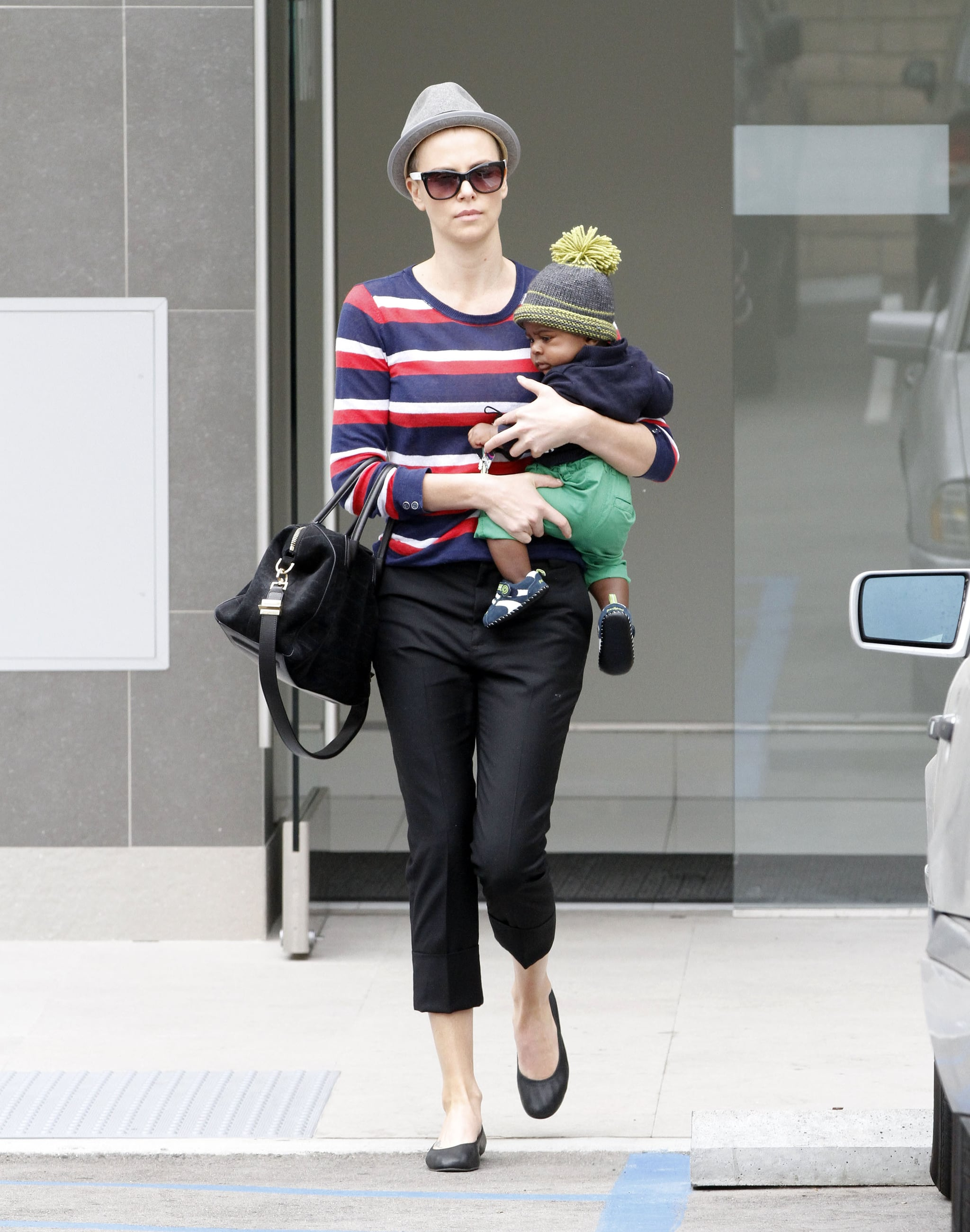 Charlize Theron wore flats as she ran errands with Jackson.
