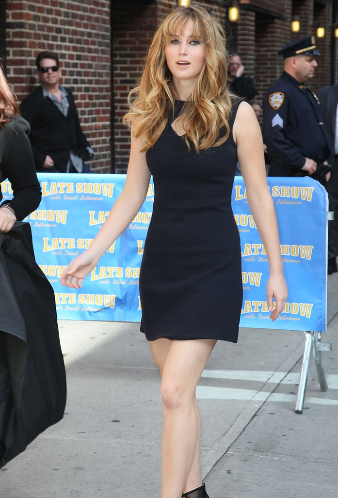 On her way into the Late Show.