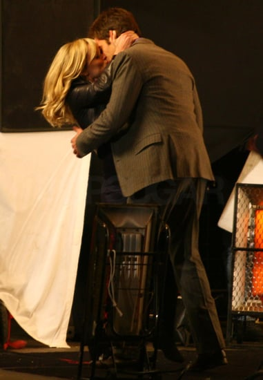 Pictures of Reese Witherspoon Kissing Chris Pine on This Means War Set in Vancouver, Christian Bale Comments on Tom Hardy