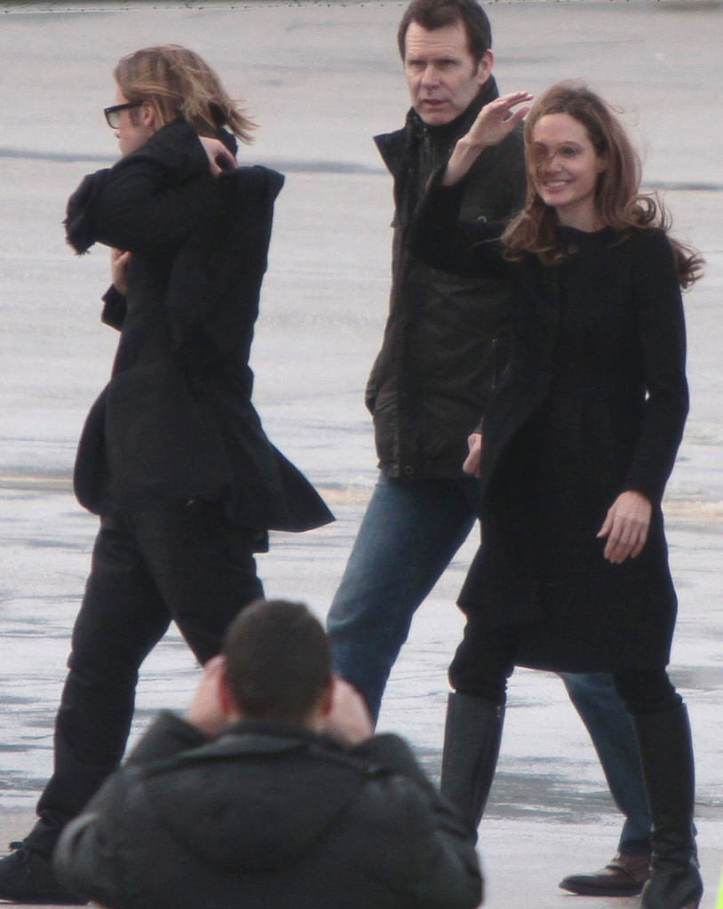 Angelina Jolie waved as she and Brad Pitt left Sarajevo in February.