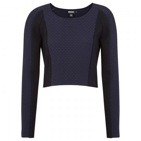 DKNY Quilted cropped stretch silk jumper