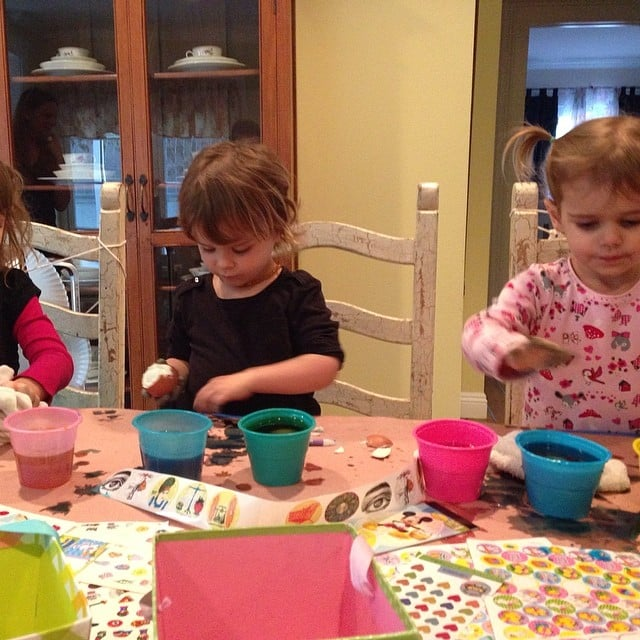 Arthur Bleick studiously worked on dyeing his Easter eggs. Source: Instagram user therealselmablair