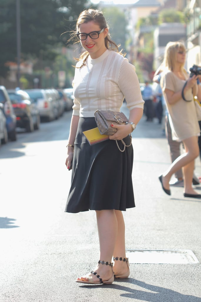 There's nothing wrong with keeping it simple — as this showgoer proved it in a knit top and skirt, and a pair of cute, eye-catching sandals.