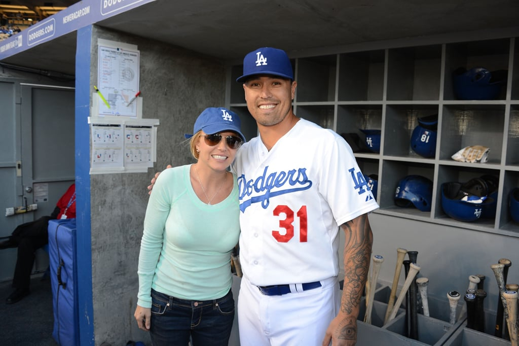Britney Spears posed with the Dodgers Brandon League.