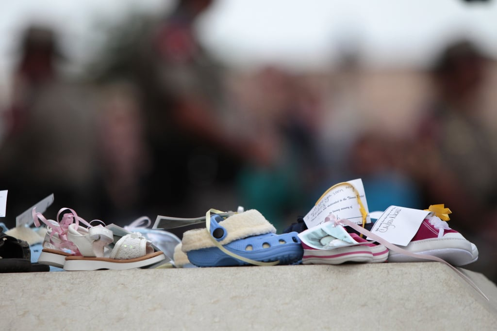 Toddler shoes were symbolically set outside the Texas Capitol building during the rallies.