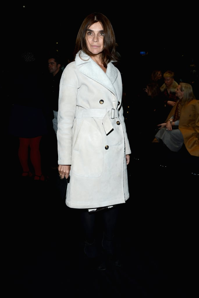 Carine Roitfeld was plush in a Winter-white coat while attending the Gucci show.