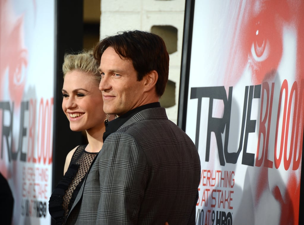 Stephen Moyer posed with his wife, Anna Paquin, on the red carpet.