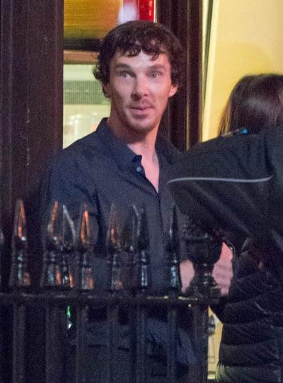 Benedict Cumberbatch in the rain on the set of Sherlock in the UK