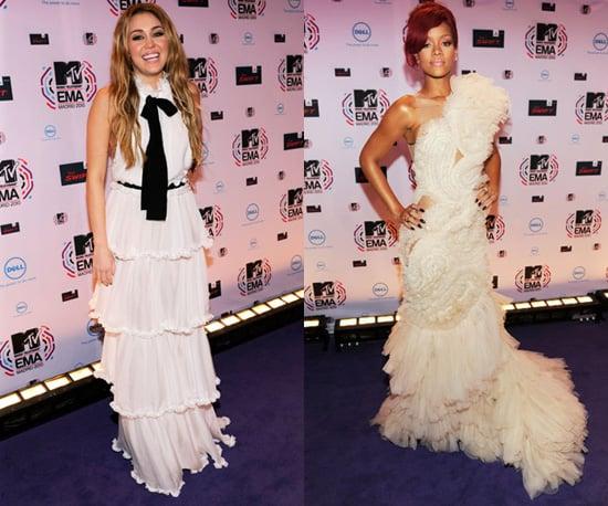 Photos of Miley Cyrus and Rihanna at the 2010 MTV Europe Music Awards