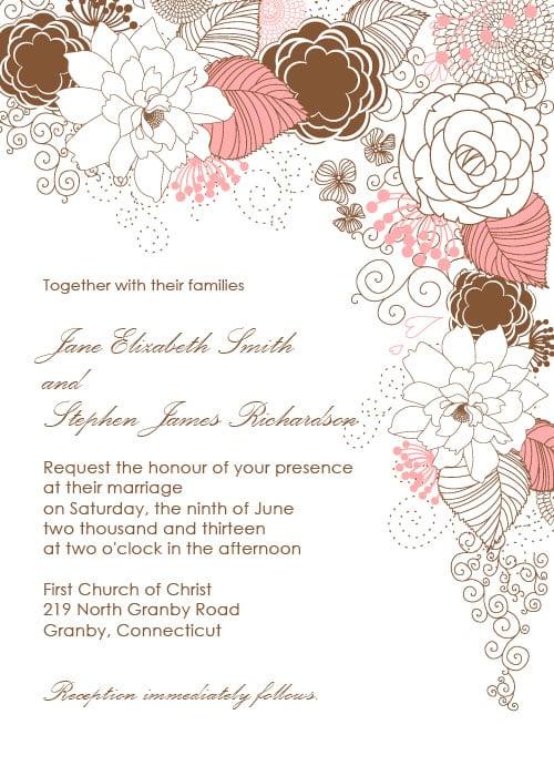Garden With Floral Border Wedding Invitation