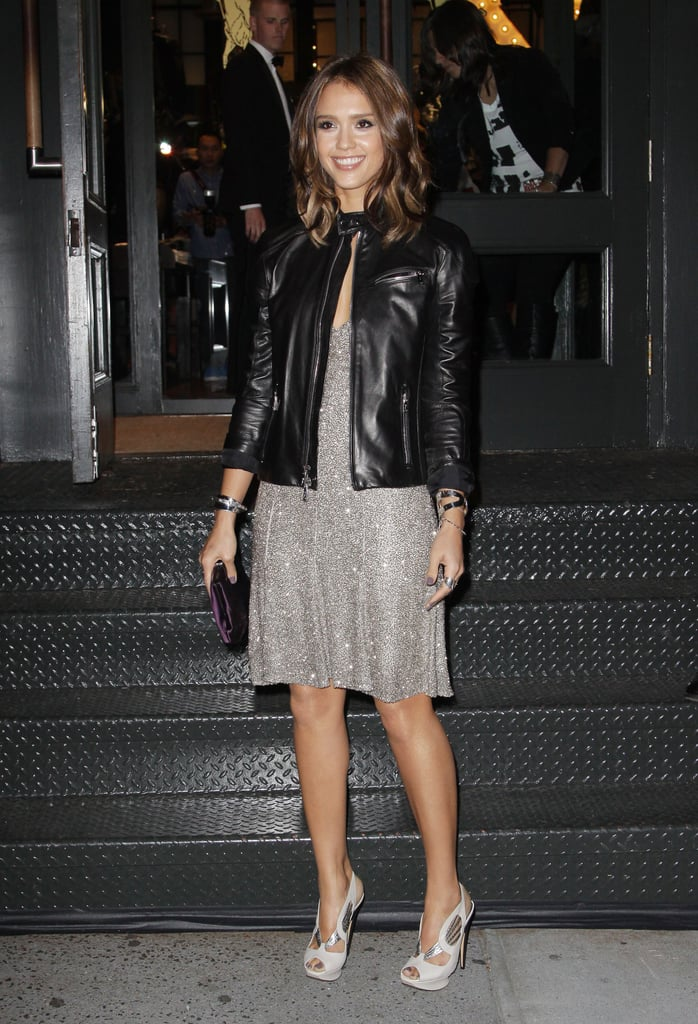 Jessica Alba wore leather and sequins for an appearance at Ralph Lauren's FNO event in 2010.