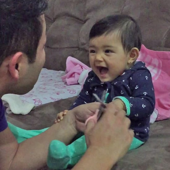 Funny Little Girl Scares Dad While He Cuts Her Nails