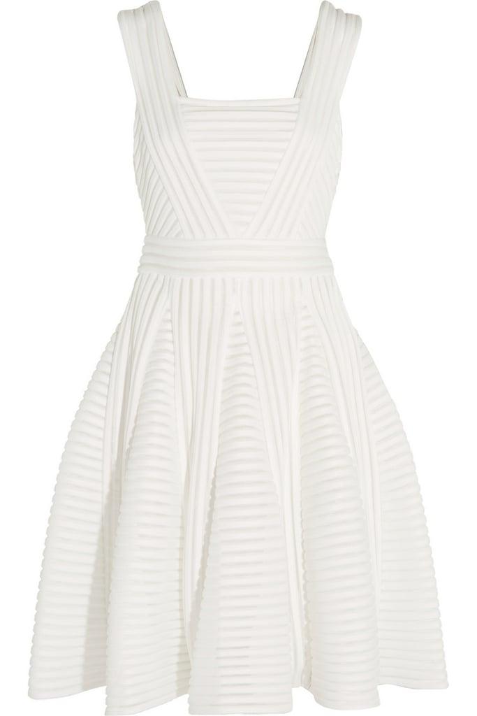 MAJE Striped mesh and jersey mini dress ($410)