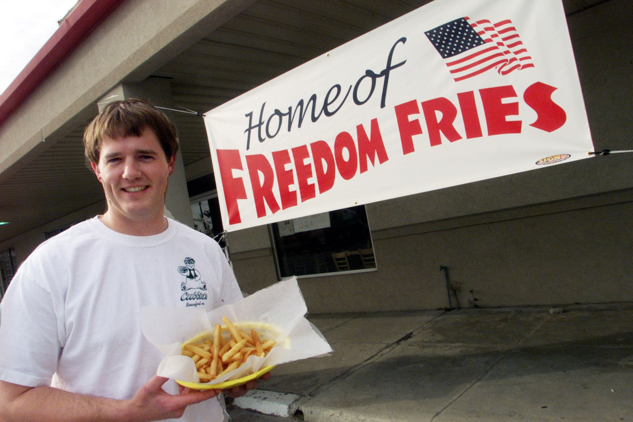 Restaurant owner changed name of French fries, to Freedom Fries to show his disgust with the French government's Iraq policy.