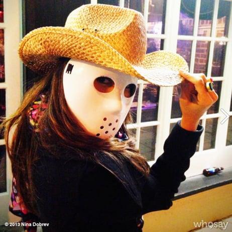 Nina Dobrev got in the spirit with a spooky Halloween mask. Source: Nina Dobrev on WhoSay