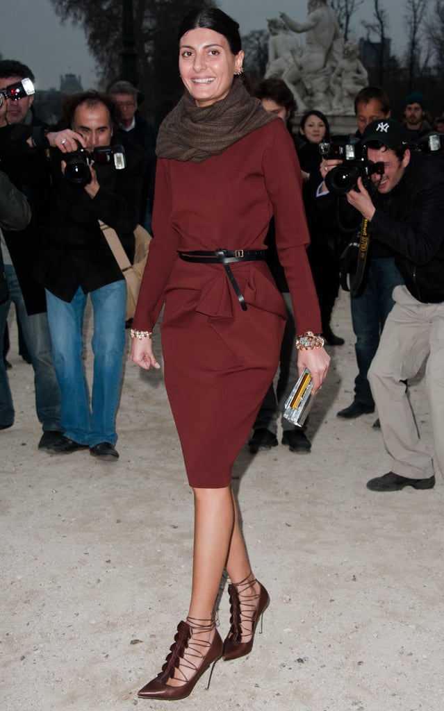 Giovanna Battaglia paired pretty autumnal hues together for her appearance at Sonia Rykiel.
