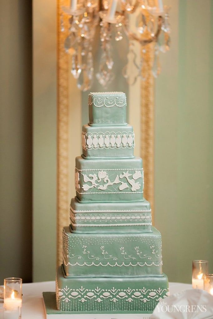 Six tiers are just enough to capture all the gorgeous details of this cake — the color stands out for good reason, and the lace-like icing is a delicate, classic touch.
