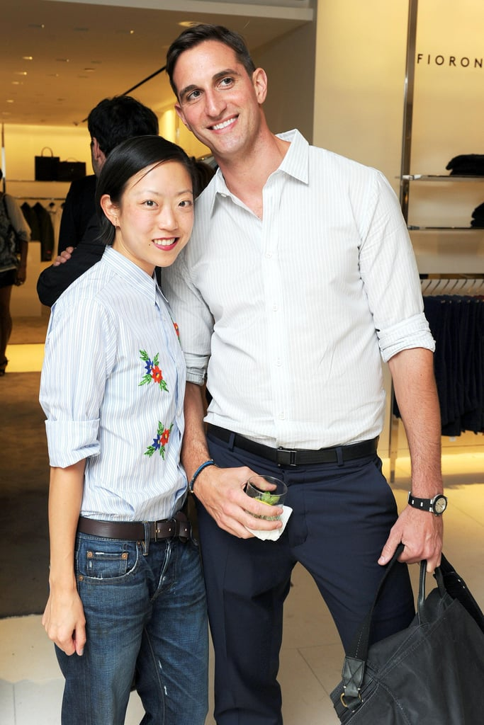 At the UNICEF benefit at Barneys, Tomoko Ogura and Lance Miletich coordinated in button-down ensembles.