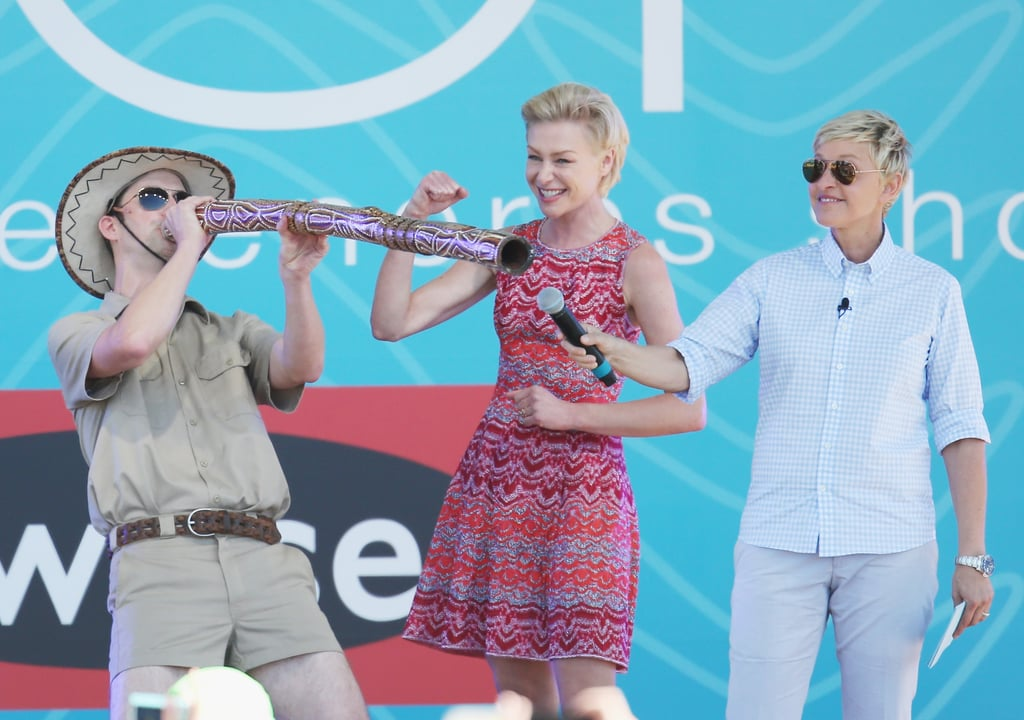 Ellen DeGeneres and Portia de Rossi watched as their executive producer Andy Lassner played a didgeridoo.