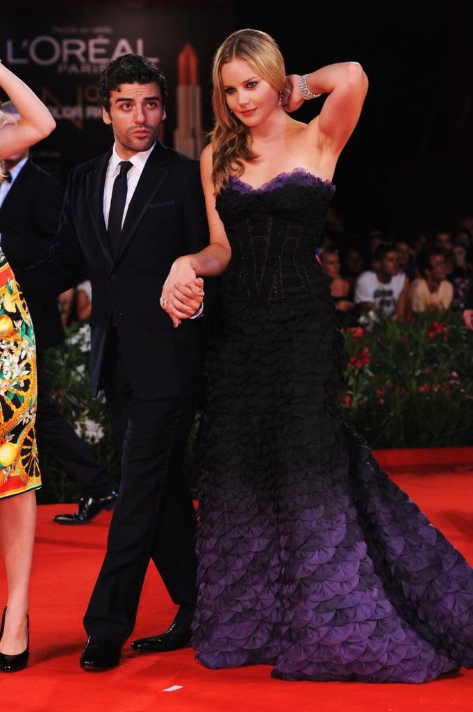 Abbie Cornish made a dramatic entrance at the W.E. premiere.